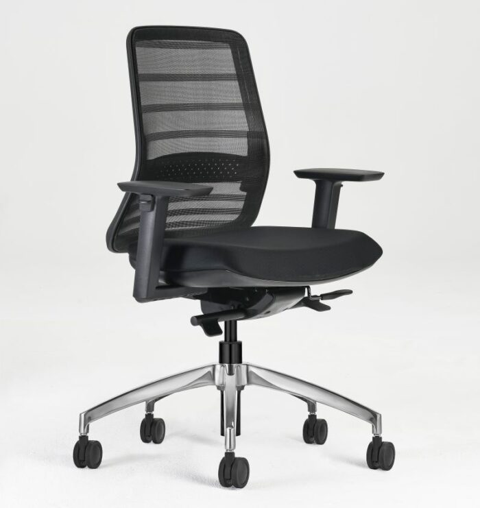 tonique office chair with polished aluminium base