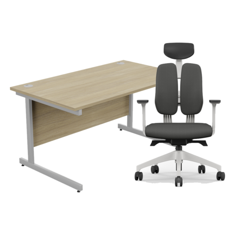 Home Office Furniture Package – Straight Desk Size & Colour Options with Duorest Office Chair