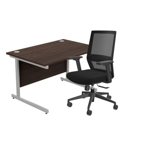 Home Office Furniture Package - Straight Desk, Size & Colour Options with MCC Office Chair